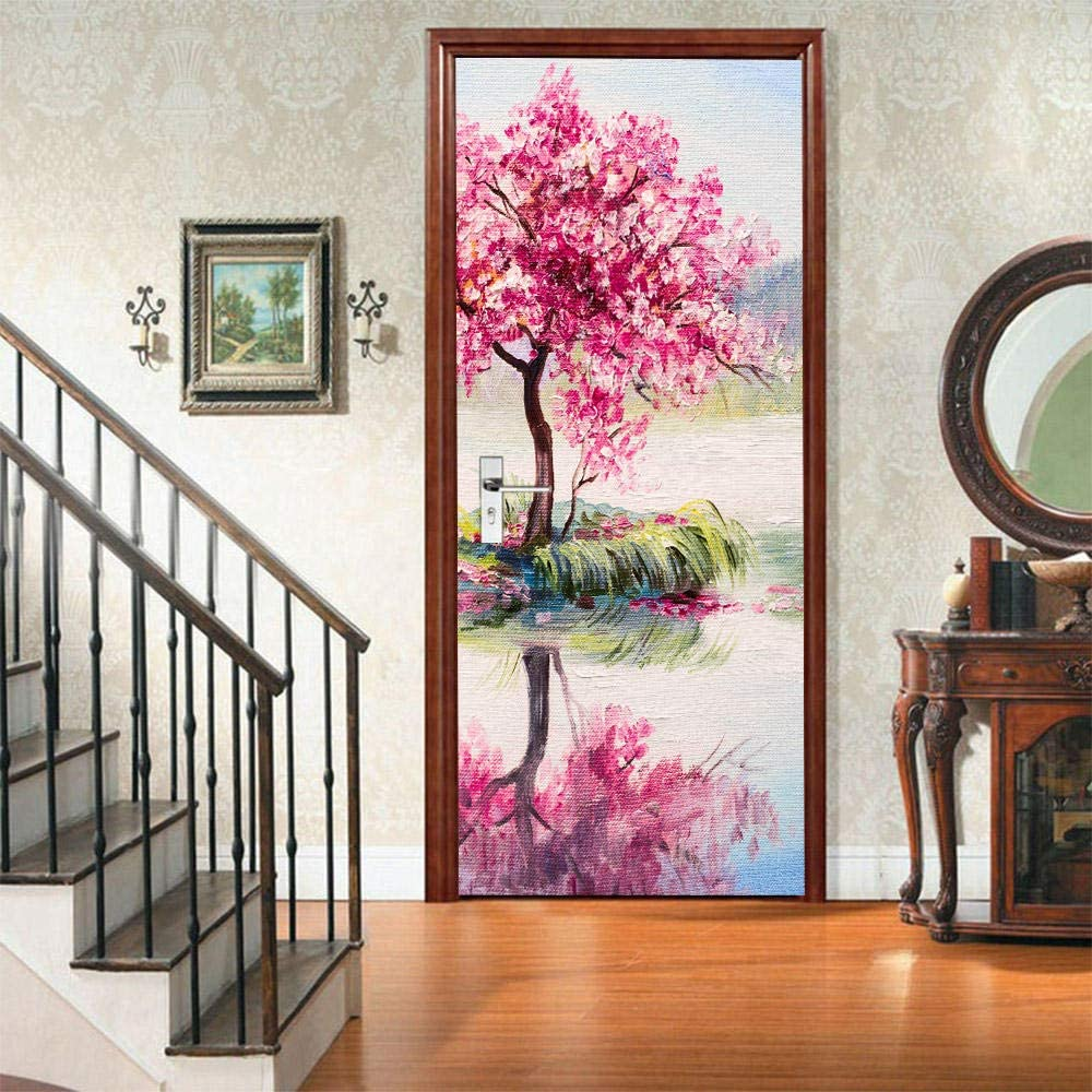 WBDJTX 3D Door Stickers Max Sales for sale 52% OFF Mural Wallpaper PVC Painting Pink A Tree