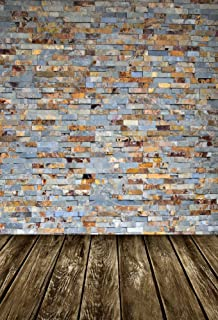 AOFOTO 5x7ft Shabby Brick Wall Photography Studio Backdrops Old Wood Floor Photo Shoot Background Nostalgia Vintage Video Props Adult Boy Girl Youngster Kid Artistic Portrait