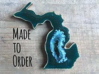 Michigan Connected Geode Crackle Magnet, Michigan Refrigerator Magnet, State Shaped Magnet, Custom Magnet, Dock 6 Pottery, Kerry Brooks Pottery