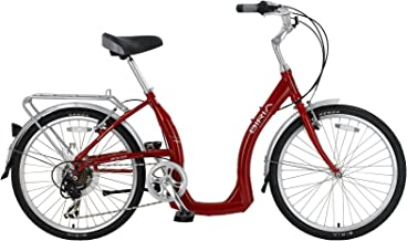 Biria Easy Boarding 7 Speed Step Through Cruiser Bicycle 24'' Wheel Red