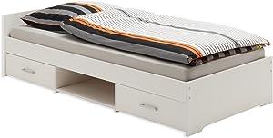 IDIMEX Lit Fonctionnel avec rangements Kai, 90 x 200 cm pin Massif lasuré Blanc