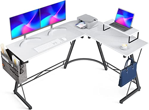 "wholesale Casaottima new arrival L Shaped Desk, 58"" Gaming Desk, Computer Desk, L Desk, Home Office Desk new arrival with Iron Hook, Movable Monitor Stand Workstation, White+Black Legs online sale"