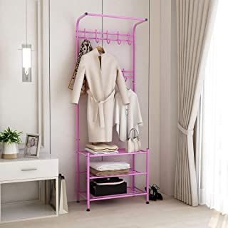 JURMERRY Hall Tree Garment Rack Shirt Pipe Clothes Rack with Storage Shelf Hanging Coat Rack Entryway Hat 9-Hooks and Shoe Rack 3-Tier Metal for Home Bedroom Office Girl Women,Pink