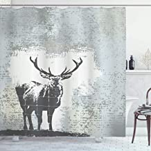 Ambesonne Antlers Shower Curtain, Standing Stag Silhouette Grunge Style Background Shadow Monochromic Illustration, Cloth Fabric Bathroom Decor Set with Hooks, 75 Long, Black Grey
