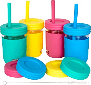 Kids 8oz Glass Mason Jar Drinking Cups with Silicone Sleeves + Straw Lids + Leak Proof Regular Lids + Silicone Straws - Spill Proof, Sippy Cups for Toddlers, Kids Drinking Glasses, Food Storage-4 Pack