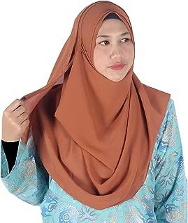 Womens Cinnamon Brown Plain Double Loop Instant Chiffon Hijab Scarf Ready Wear