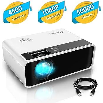 Elephas Mini Proiettore, Videoproiettore 4500 Lumen, di Proiettore Portatile a LED per Home Theater, Supporto 1080P, Compatibile con PS4, PC via HDMI, VGA, TF, AV, and USB (white)