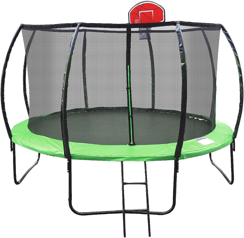 Jumbroo 10ft Enclosed Net Fiberglass Round Trampoline Basketball Hoop Bundled