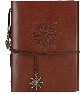 DIY Scrapbook Photo Album Handmade Leather Memory Book 60 Pages for Baby Anniversary Birthday Wedding Travel Graduation Picture (Large Brown Compass)