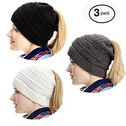 79bda0fc816b35 Gagget Women's Winter Knit Cup Beanie Tail Ponytail Winter Warm Stretch  Cable Messy High Bun Knit