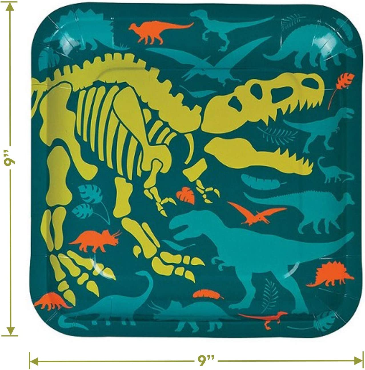 Serves 16 Dino Dig Fossil Skeleton Paper Dinner Plates and Luncheon Napkins Dinosaur Party Supplies