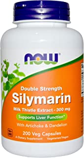 Now Foods, Double Strength, Silymarin, Milk Thistle Extract 300mg with Artichoke & Dandelion, 200 Veg Capsule