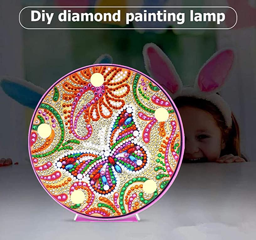 Diamond Painting Butterfly with LED Light DIY Special Shaped Full Drill Crystal Diamond Drawing Bedside Lamp for Home Decoration or Gifts-6x6in (Butterfly)