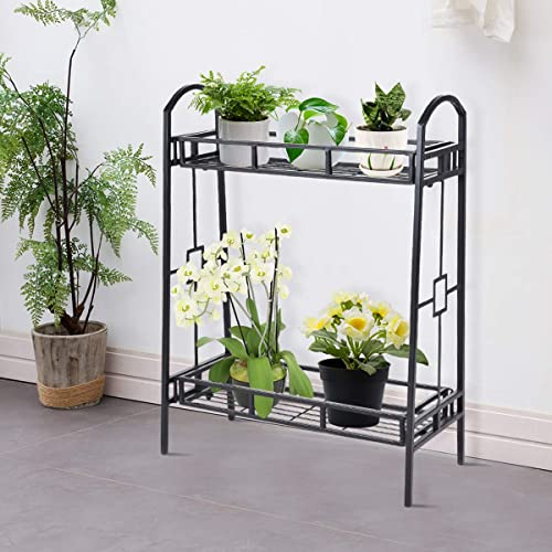 new arrival Giantex high quality 2 Tier Metal Plant Stand, Indoor high quality Outdoor Flower Pots Display Rack Shelf, Flower Pots Holder Tray Plants Organizer Storage Shelf for Home Patio Garden Balcony Living Room online