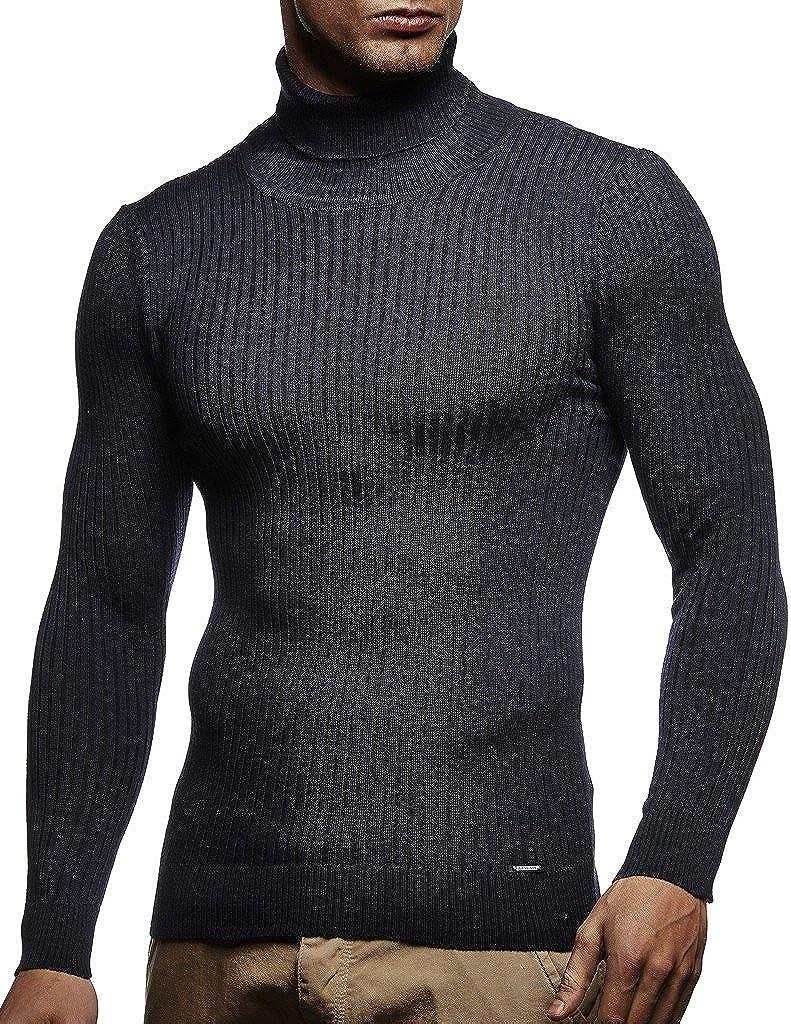 Leif Nelson Men's Turtleneck Sweater Slim Fit | Men's Polo Neck Longsleeve | Turtleneck Sweater Long Sleeve for Men