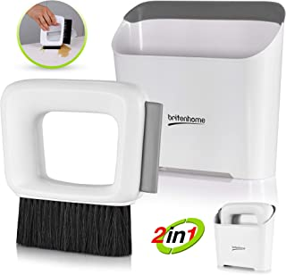 Mini Dustpan and Squeegee Small Hand Broom Counter Brush Cleaning Set with Squeegee Edge, Kitchen and Bathroom Handbroom for Countertops or Personal Areas