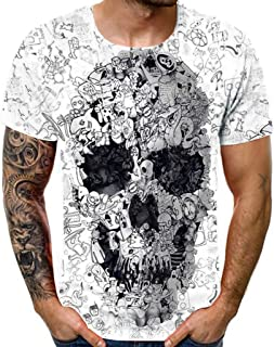 iLXHD Men's T-Shirt New Summer Crewneck Short Sleeve Skull Funny 3D Printed Top Blouse