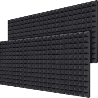 "Acoustic Foam Panels 12-Pack 2"" X 12"" X 16"", Ohuhu Sound Absorbing Dampening Wall Foam Pyramid 2 Inch Acoustic Treatment"