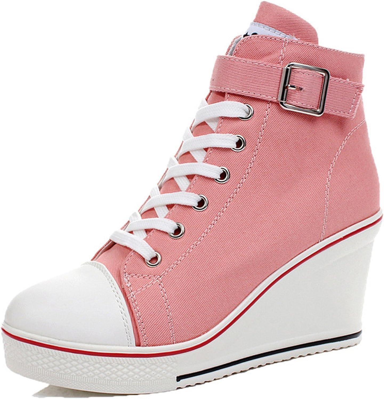 Uciquzhon Canvas shoes Women Wedges Badge High Top Platform shoes Woman White Black Casual shoes