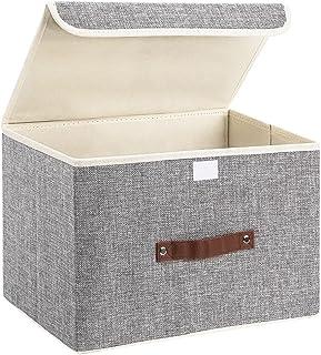 Boîte de rangement pliable en toile avec poignée solide pour maison, bureau, armoire, chambre à coucher, salon (gris clair)
