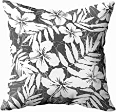 ROOLAYS Joy Pillow case, Throw Square Decorative Pillow Cover 16X16Inch, Cotton Cushion Covers White and Gray Tropical Flower Both Sides Printing Invisible Zipper Home Sofa Decor Pillowcase