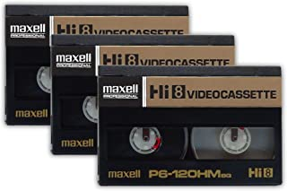 [3-Pack] Maxell P6-120HM Professional Broadcast Quality Hi8 8mm Video Cassette Tape