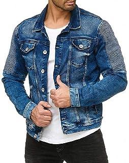 YYG Men's Plus Size Pleated Button Down Long Sleeve Denim Jacket Jean Coat