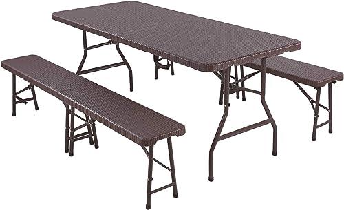 Femor Ensemble de 1 Table et 2 bancs Pliables, Panneau en Plastique HDPE, Imperméable, avec Cadre en Acier, Ensemble ...