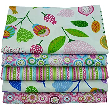 Paquetes de tejido acolchado Fat Quarters de 5 piezas, tela de algodón de colores 46x56cm para acolchar patchwork de costura, 18
