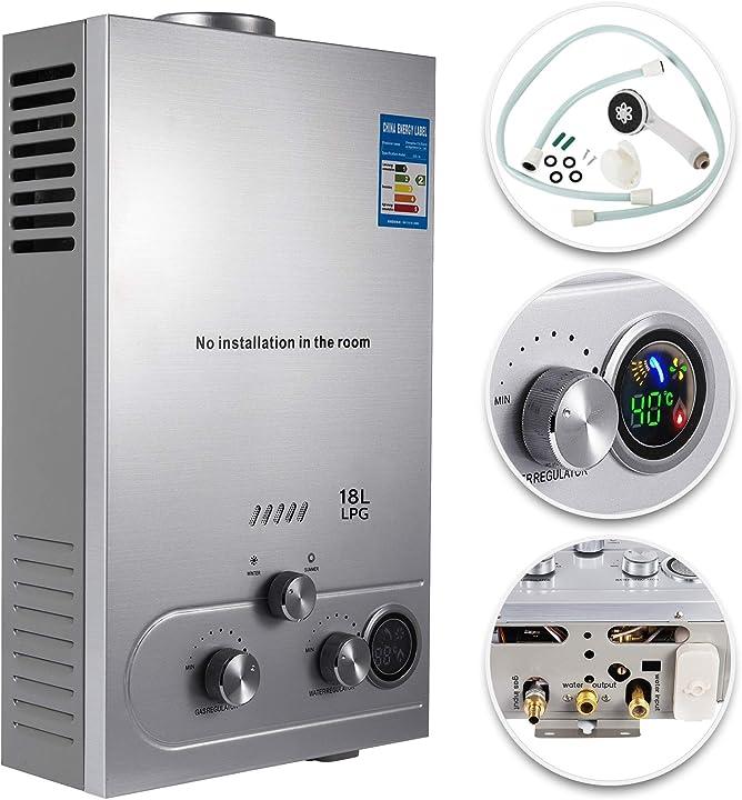 scaldabagno a gas liquefatto gas lpg con digitale lcd scaldabagno automatico e rapidamente 18 litri B086V1YP3W