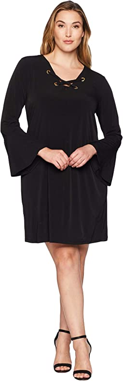 Plus Size Grommet Lacing Matte Jersey Dress