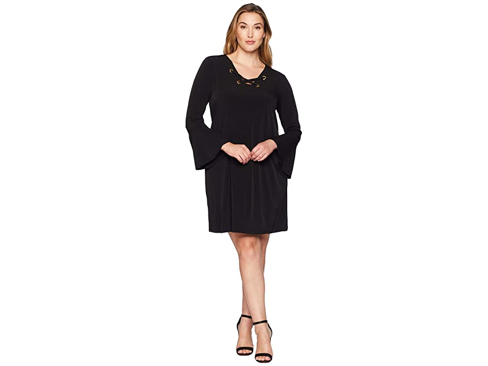 MICHAEL Michael Kors Plus Size Grommet Lacing Matte Jersey Dress (Black) Women