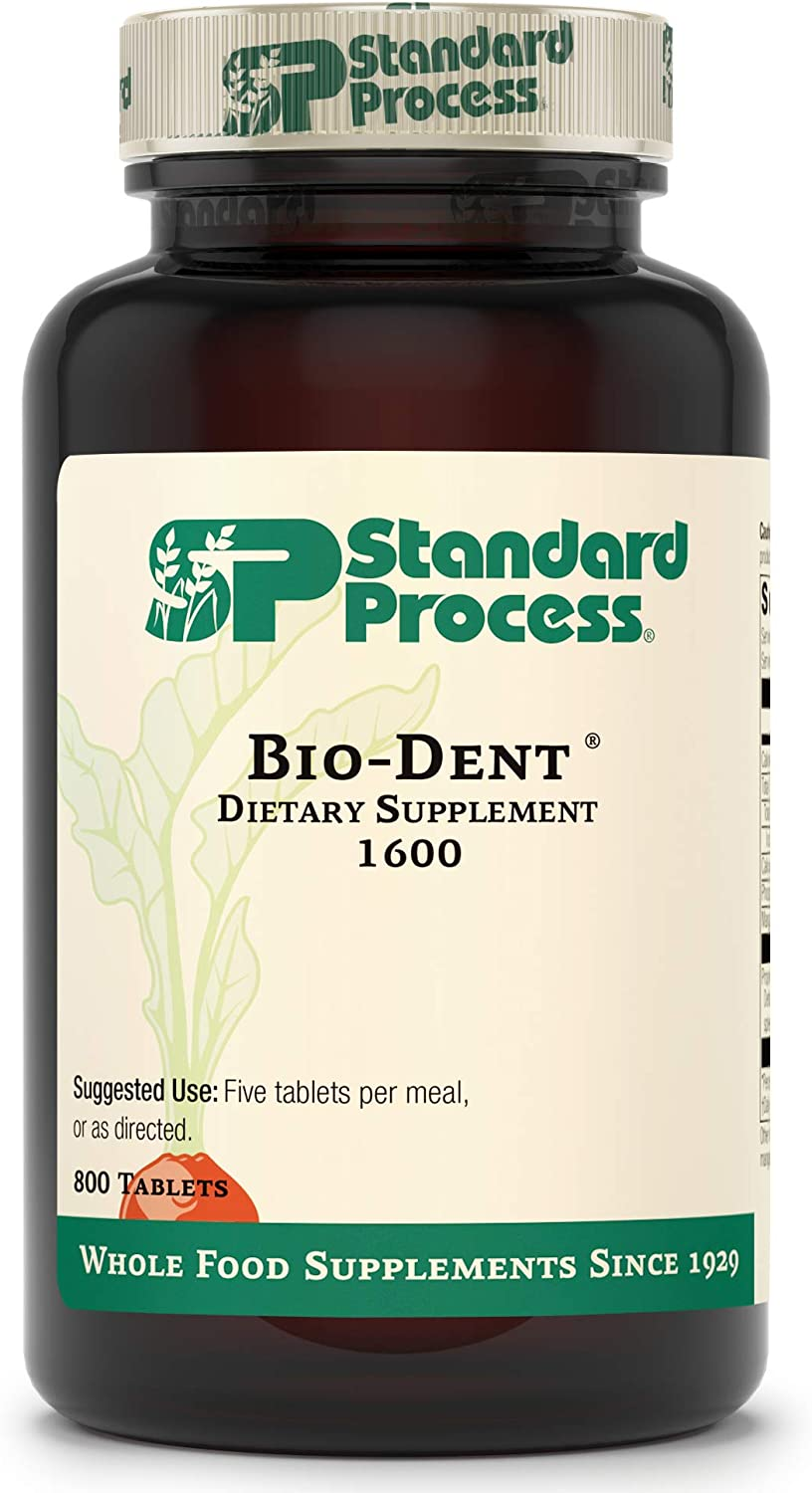 Standard Process Bio-Dent - Whole Food Supplement for Skin, Muscle, and Bone Health - Calcium, Licorice Root, Manganese, Phosphorus, and More - 800 Tablets