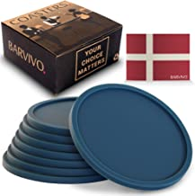 Barvivo Drink Coasters Set of 8 - Tabletop Protection for Any Table Type, Wood, Granite, Glass, Soapstone, Marble, Stone Tables - Perfect Blue Soft Coaster Fits Any Size of Drinking Glasses.