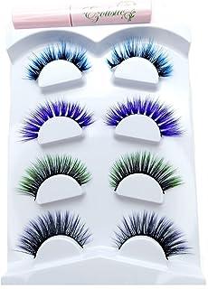 Fake Colored Eyelashes (4 Pairs)- 3D Eye Lashes Extension (# 3 - Dark/blue, Purple/Black, Black/Green, Dark Purple With Bl...