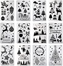 Christmas Bullet Journal Plastic Stencil Set,Children Drawing Painting Spraying Template Stencil DIY Tools Kit for Xmas Holiday Planner Album Scrapbooking Card Making(12pcs/Set)