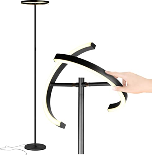 Brightech Halo Split - Modern LED Torchiere Floor Lamp, for Offices - Bright Standing Pole Light - Tall, Dimmable Upl...