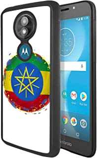 Soft Rubber Silicone TPU Anti Slip Edge and Hard Bottom Shell Case Compatible with Moto E5 Play / E5 Cruise - Rock Star with Guitar on Stage in Hippie Clothing