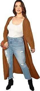 Floerns Women's Long Sleeve Open Front Knit Sweater Long Cardigan