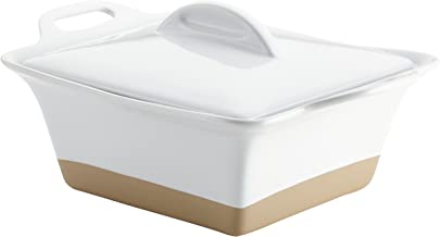 Rachael Ray 47027 Glaze Ceramics Dish/Casserole Pan with Lid, 2.5 Quart, White