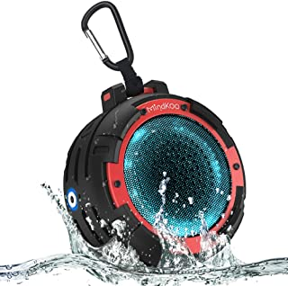 MindKoo Bluetooth Speaker Portable Wireless Speaker with 4 LED Light Modes IPX7 Waterproof Deep Bass HD Sound for Outoor Shower Pool Beach
