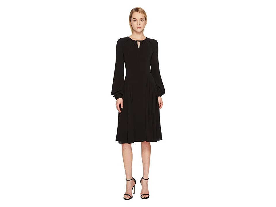 Zac Posen Solid Crepe Long Sleeve Dress (Black) Women