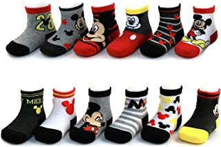 Baby Boys Mickey Mouse Assorted Color Design 12 Pair Socks Set, Age 0-24 Months