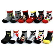 Disney Baby Boys Mickey Mouse Assorted Color Design 12 Pair Socks Set, Age 0-24 Months (0-6 Months, Black-Grey-Red Collection)