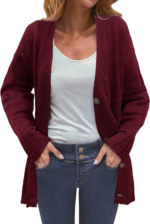 ANDLCUY Women's Long Sleeve Open Front Knit Cardigan Button Down Knitwear Sweater Coat