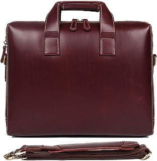 """Men's Briefcase Simple Fashion Business Briefcase 15"""" Computer Bag Leather Men's Handbag (Color : Brown, Size : L)"""