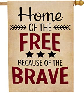Dyrenson 4th of July Home of The Free Patriotic House Flag 28 x 40 Double Sided Quote, Burlap Garden Yard Decoration, USA Decorative Seasonal Outdoor Décor Large Flag Spring Summer US Independence Day
