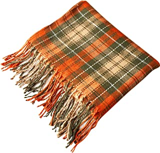 Cckuu Blanket Tassel Design Tartan Scarf Wrap Shawl Plaid Cozy Checked for Women