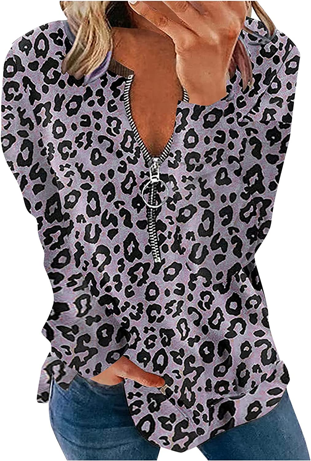 Women's Casual Leopard Print Zip up Sweatshirts Long Sleeve Oversize Pullover Loose Fit Tunic Blouse Tops