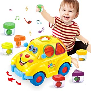 HOLA Musical Car Toy, Early Education Baby Toys with Fruit Shape Sorters, Omni-Directional Wheel Learning Car Gifts Toys f...